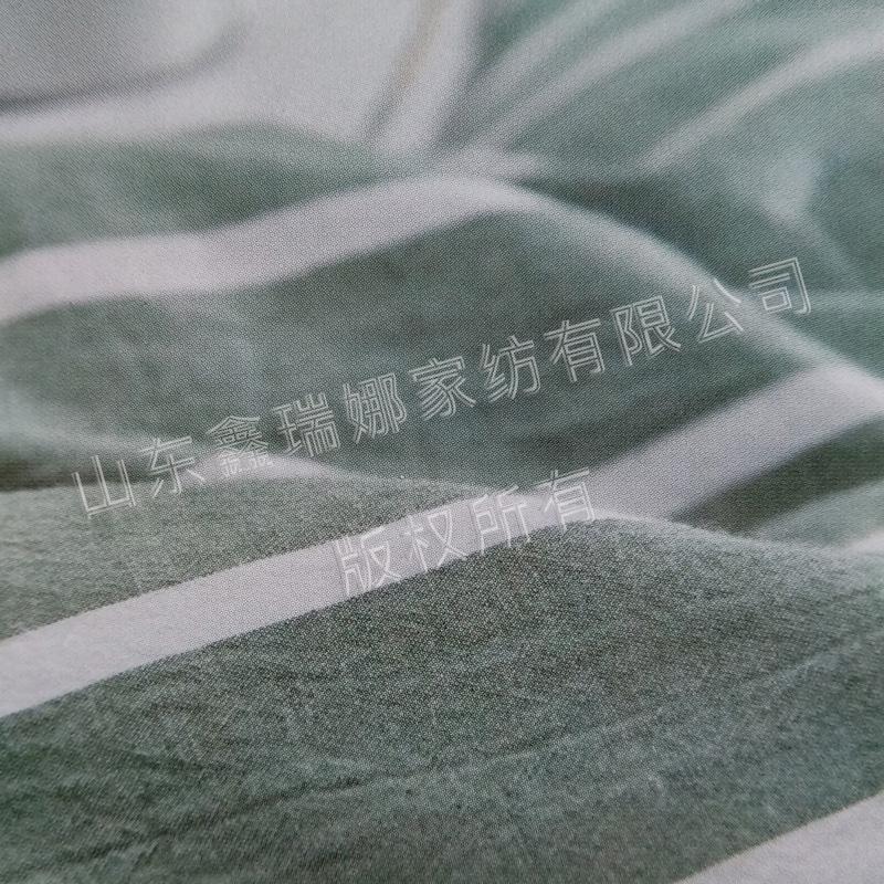 水洗棉-绿宽条细节