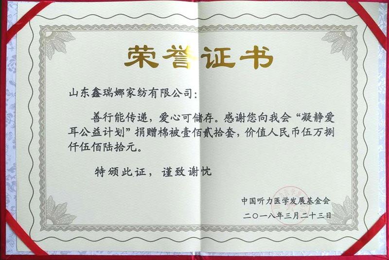 中国听力医学发展基金会证书